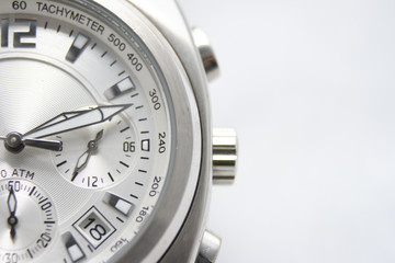 Close-up of A sport watch on white background.