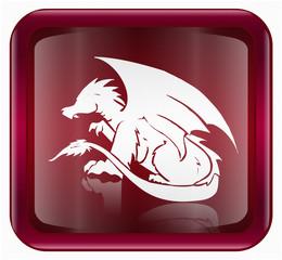 Dragon Zodiac icon red, isolated on white background.