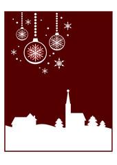 Dekorativer Winter- / Weihnachtshintergrund: Kleines Dorf