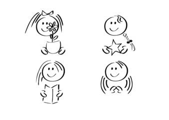 Icons: Vier fröhliche Mädchen mit Gegenständen (kombinierbar)