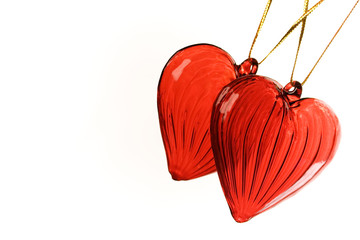 Valentine's hearts on white with copy-space