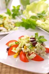 Fresh tomato salad with corn and basil