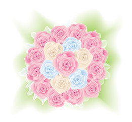 The illustration representing a bouquet from roses