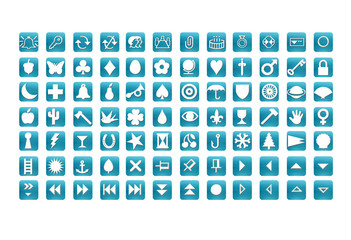 web icons set cyan