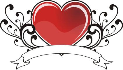 corazon con liston y adornos
