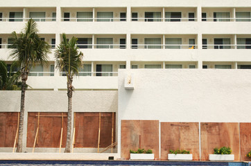 Evacuated Hotel with Boarded Windows Ready for Hurricane