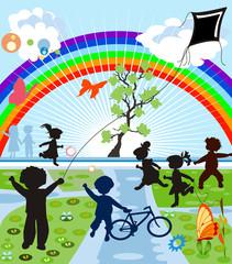 Spoed Foto op Canvas Regenboog happy kids silhouettes