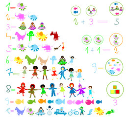 children world; preschool elements: kids, animals, numbers