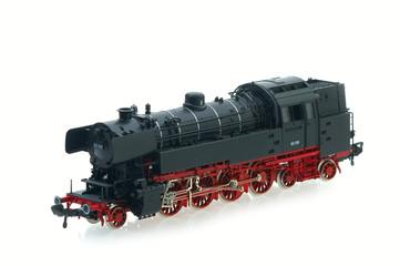 retro locomotive model on the white background