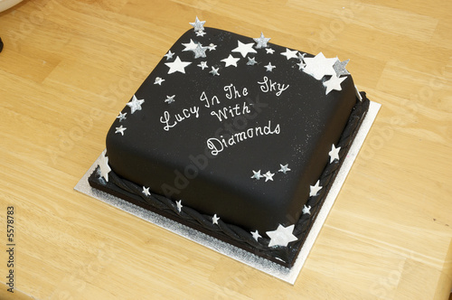 A Black Birthday Cake On Table