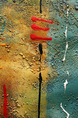 Abstract multi-coloured background drawn by oil paints