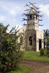 church construction on rural corn island nicaragua