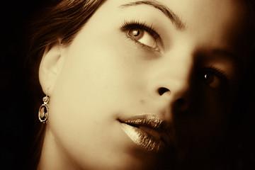 Beautiful woman closeup. Retro art photo