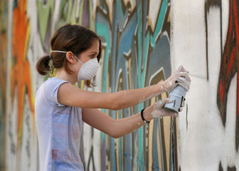 Spray painting on wall..
