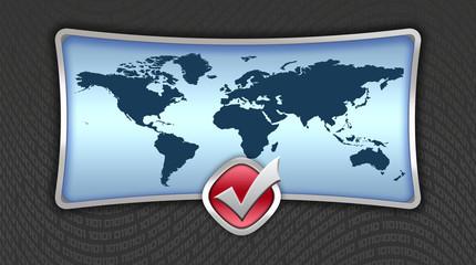 Blue world map banner