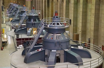 Seven power generators at Hoover Dam