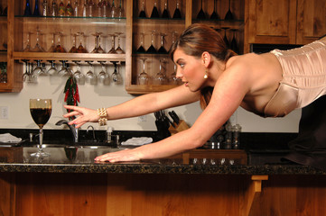 woman desparate for wine