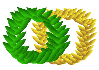 Laurel Wreaths in green and gold