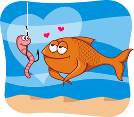 cartoon of fish and bait in love