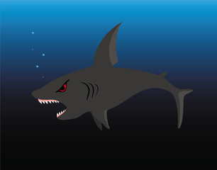 The illustration representing a spiteful shark