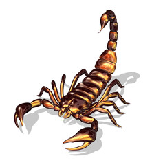 3D render of a scorpion with a glossy texture.