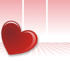 corazon sobre rosa