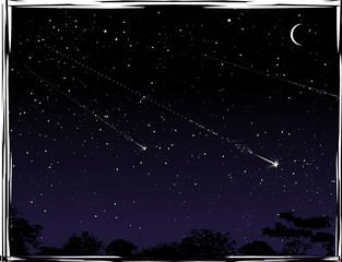 Three shooting stars at night.