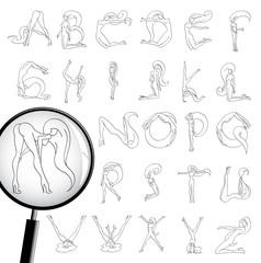 Attractive girl Font Line art