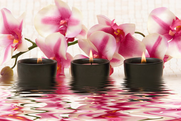 Aromatherapy candles and pink orchid