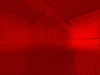 Red architectural 3d space.