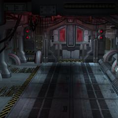 An empty Room in an starcraft vessel. Futuristic Scene