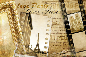 Wall Mural -  Paris memories - artistic clip-art