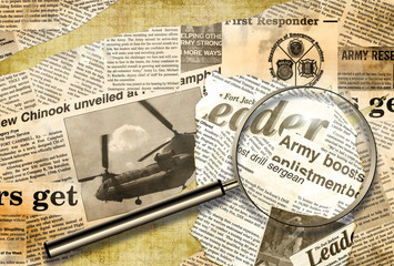 military background from newspaper' scraps
