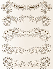 Abstract pattern for design. Floral retro ellements