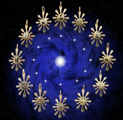 Twelve golden zodiacal sign
