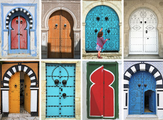 Fotorollo Tunesien mosaic of arabic doors - tunisia - north africa