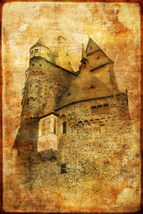 burg eltz castle in Germany - picture in retro style