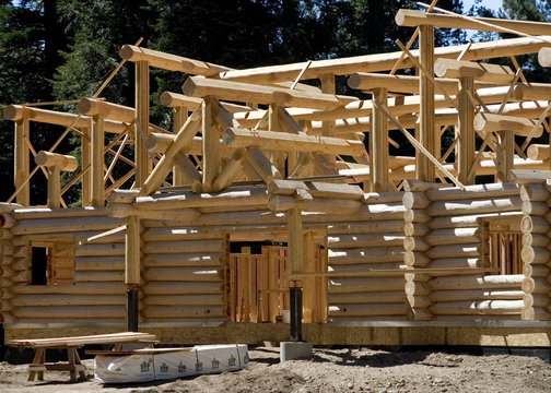 Constructing a log cabin