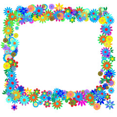 Vector - Frame formed by hundreds of flowers or floral patterns.