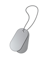 Blank military dog tags on a white background.