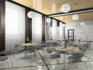 Interior of modern bistro (cafe) 3D rendering