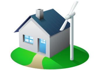 Maison et éolienne