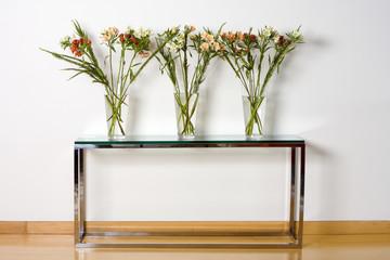 Three glass vases with plants