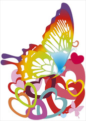 rainbow butterfly with heart-shapes - vector