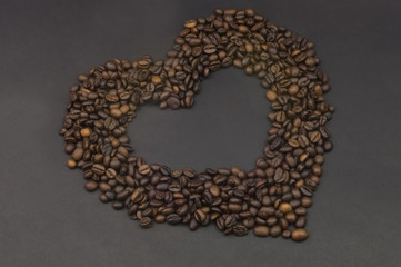 An heart with coffee beans for coffee lovers.