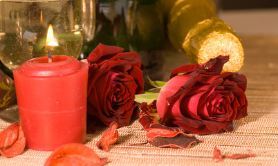 scarlet sweetheart rose and champagne