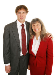 Young businessman and his mature female mentor.