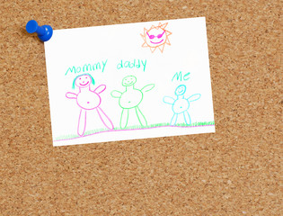 cork board with childs family drawing tacked up