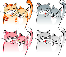 Printed kitchen splashbacks Cats Two cats in love - romance. Artistic vector illustration