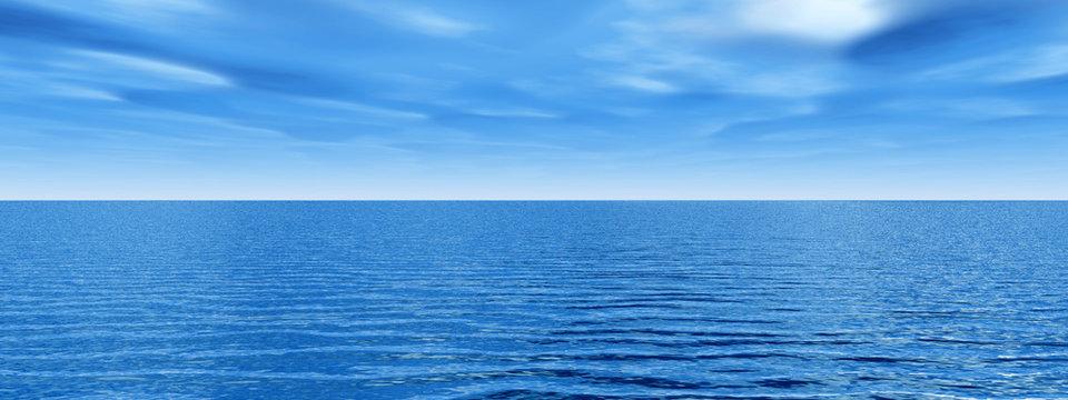 Beautiful sea and clouds sky - digital artwork
